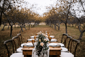 wedding table setting at a farm in maine