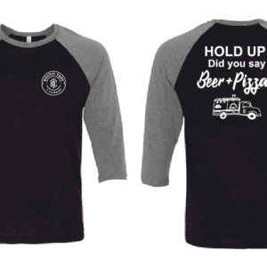 BEER and pizza baseball style tee rustic taps
