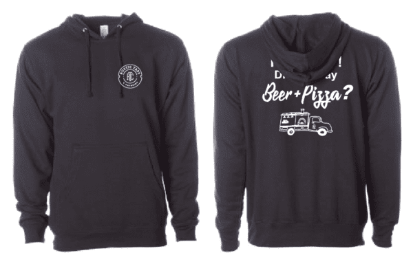 beer and pizza hoodie rustic taps